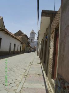 Main Street - Church tower in distance.