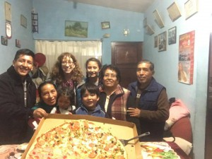 Gigantic pizza party with cousins in Nuevos Horizontes, El Alto, La Paz