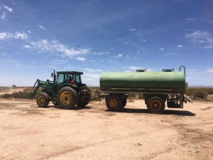 Water tanks set up for spray irrigation on emerging crops.