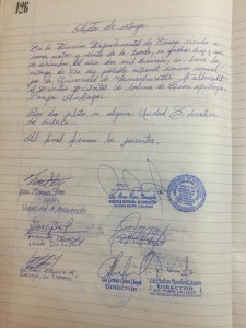 The signed contract recognizing the start of the Outernet pilot project in Bolivia.